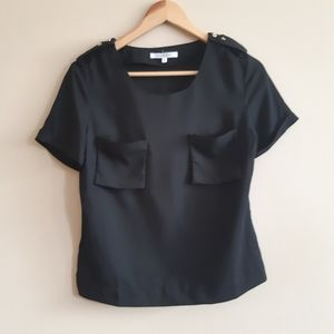 Joy & Co. | silky pocket tee with shoulder detail
